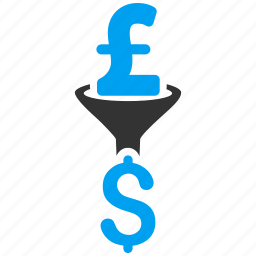 american dollar, conversion, currency exchange, efficiency, filter, funnel, pound sterling icon