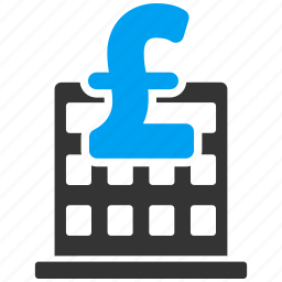 bank building, commercial, corporation, finance, financial center, office, pound sterling icon