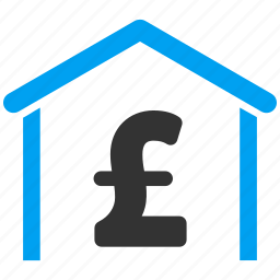 bank building, currency, garage, hangar, pound sterling, storage, warehouse icon