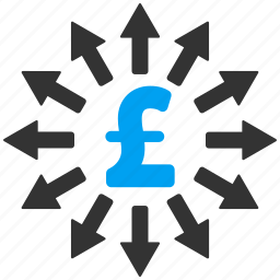 bank system, business, distribution, money, network, pound sterling, share icon