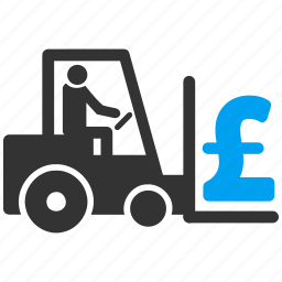logistic business, merchandise, money, payment, pound sterling, transport, warehouse icon