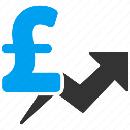 business, commerce, commercial, finance, pound sterling, price growth, sales chart icon