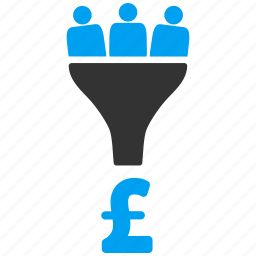 conversion, customer filter, customers, financial effect, pound sterling, revenue, sales funnel icon