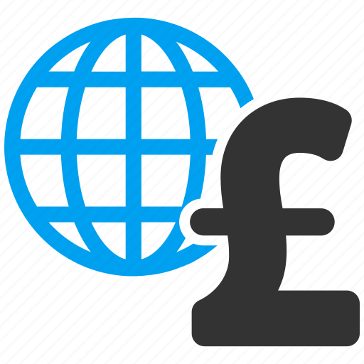 earth, global economics, globe, network, pound sterling, web, world map icon