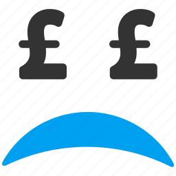 bad, bankrupt, bankruptcy, debt, emotion, pound sterling, sad icon