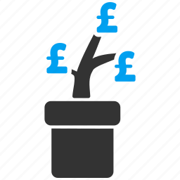 agriculture startup, business project, commercial, idea, plant, pot, pound sterling icon