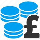 bank, cash, coins, finance, gold, money, pound sterling icon
