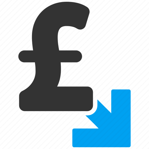 decrease, down arrow, lower, out, pound sterling, reduce, reduction icon