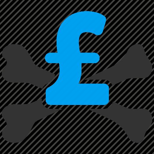 bankrupt, bankruptcy, danger, death, failure, mortal debt, pound sterling icon