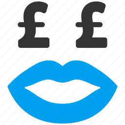 kiss, love, mouth, pound sterling, prostitution, smile, smiley icon