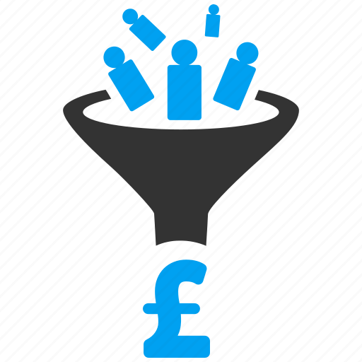 business, conversion, customer filter, customers, financial effect, pound sterling, sales funnel icon