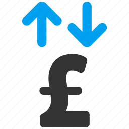 business, finance, money, pound sterling, transactions, transfer, update icon