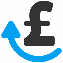finance, money back, pay again, pound sterling, redo, repay, repeat payment icon