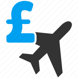 air lines, airplane, aviation business, booking, flight, pound sterling, tourism icon