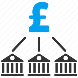bank association, banking, economy, expenses, network, payment, pound sterling icon