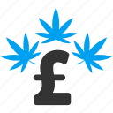 cannabis, drug business, hemp, marihuana, marijuana, medication, pound sterling icon
