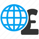 global finances, globe, international corporation, network, pound sterling, web, worldwide icon