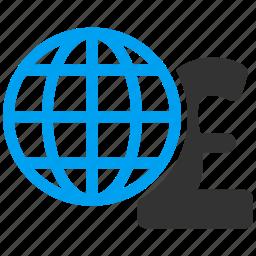 global finances, globe, international corporation, network, pound sterling, web, worldwide icon