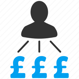 banker, businessman, cash flow, payer relations, payments, person expenses, pound sterling icon