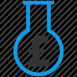 analyze, audit, chemical glass, chemistry, financial alchemy, pound sterling, science icon