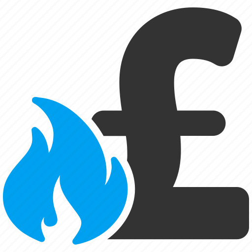 burn, business fail, financial, fire, flame, pound sterling, problem icon