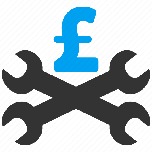 business, money, pound sterling, service price, settings, support, tools icon