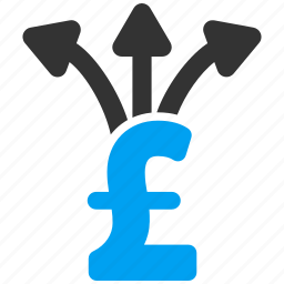 business, divide payment, finance, income, pound sterling, share money, split icon