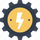 cogwheel, electricity, energy, gear, industry, nature, power, production, solar, sun icon