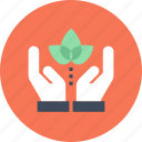 conservation, ecology, environment, hands, nature, plant, protection icon