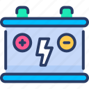 battery, car battery, charge, electricity, energy, power icon