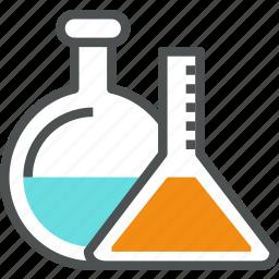 chemical, chemistry, flask, glass, glassware, lab, laboratory, tube icon