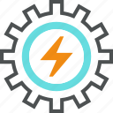 cogwheel, development, electrical, electricity, energy, gear, power, production icon