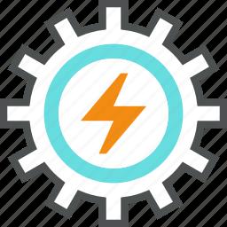cogwheel, development, electrical, electricity, energy, gear, power, production icon