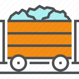 coal, container, fossil, mineral, railway, transport, transportation, wagon icon