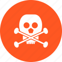 crossbones, danger, death, poison, sign, skull, warning icon