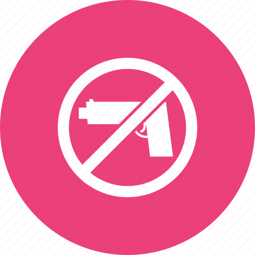 control, guns, handgun, no, pistol, safety, warning icon