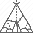 dwelling, house, line, prehistoric, primitive, shelter, time icon