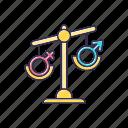 female, gender, hormone, imbalance, male, scale, unbalanced