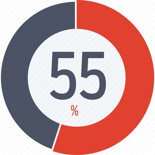 data, fifty five, graphics, indicator, loading, percent, segment icon
