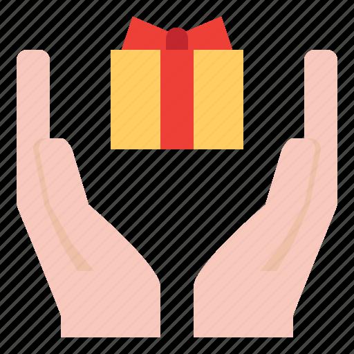 box, gift, hand, present icon