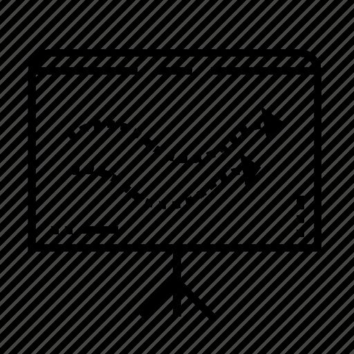 arrow, business, business presentation, easel, graph, office, presentation board icon
