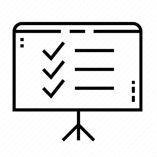 business, business presentation, checklist, easel, office, presentation board, tick icon
