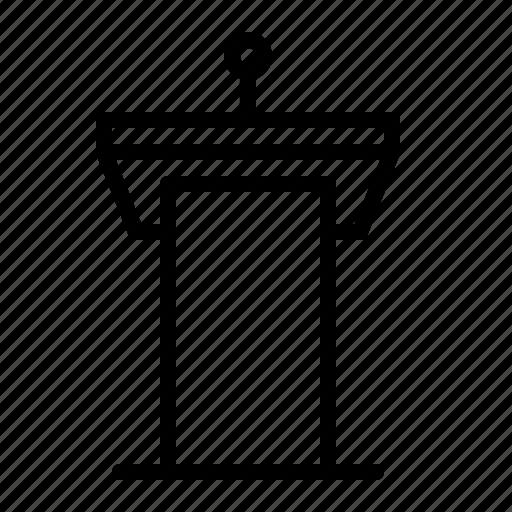 conference, ios, microphone, news, podium, rostrum, speech icon