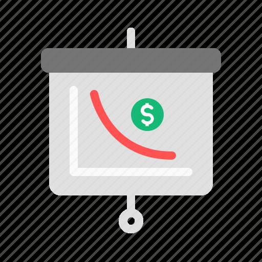 down, graph, presentation, sales, trend icon