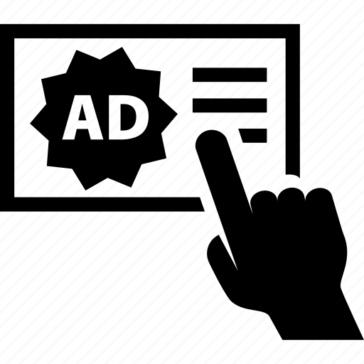 ad, adsense, banner, cursor, hand, pointer, publicity icon