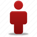 account, human, male, man, people, person, profile, red, user icon