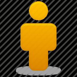 account, human, male, man, orange, person, profile, user icon