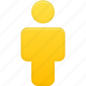 account, human, male, man, people, person, profile, user, yellow icon
