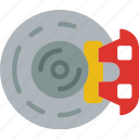 brake, car, disc, distance, travel, vehicle icon