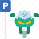 car, distance, motorcycle, parked, travel, vehicle icon